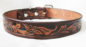 CCC Western Leather Dog Collars - Classic Tooled