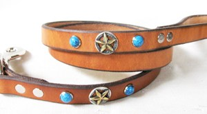 CCC Western Leather Dog Collars - Turquoise Leash