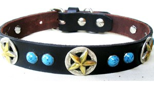 CCC Western Leather Dog Collars - Turquoise Deputy Dawg
