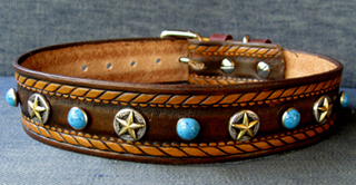 CCC Western Leather Dog Collars - Dakota Star