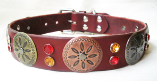 CCC Western Leather Dog Collars - Hidalgo Daisy