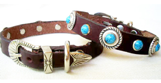 CCC Western Leather Dog Collars - Speedy Bezel Dazzle