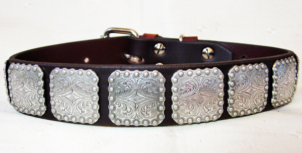 CCC Western Leather Dog Collars - 1.50 Berry Bow Wow