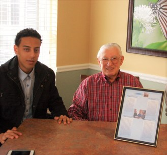 NECC Student Mohammed Antra of Lawrence interviewed Bill Sable, a WWII veteran who lives at Haverhill Crossings Assisted Living Center as part of a service learning project assignment in an ESL course he was taking.