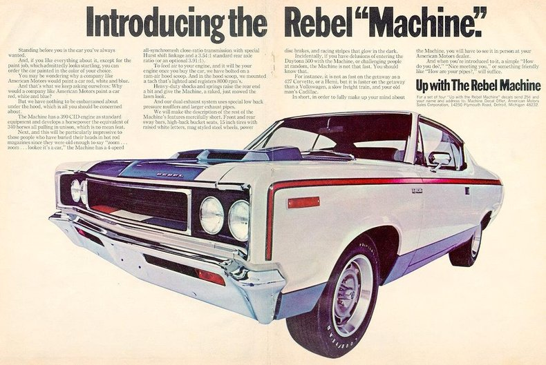1970 rebel machine specs colors facts history and performance
