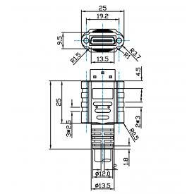Mini Camera Link, 7 Meter, Standard Male (MDR) to Mini