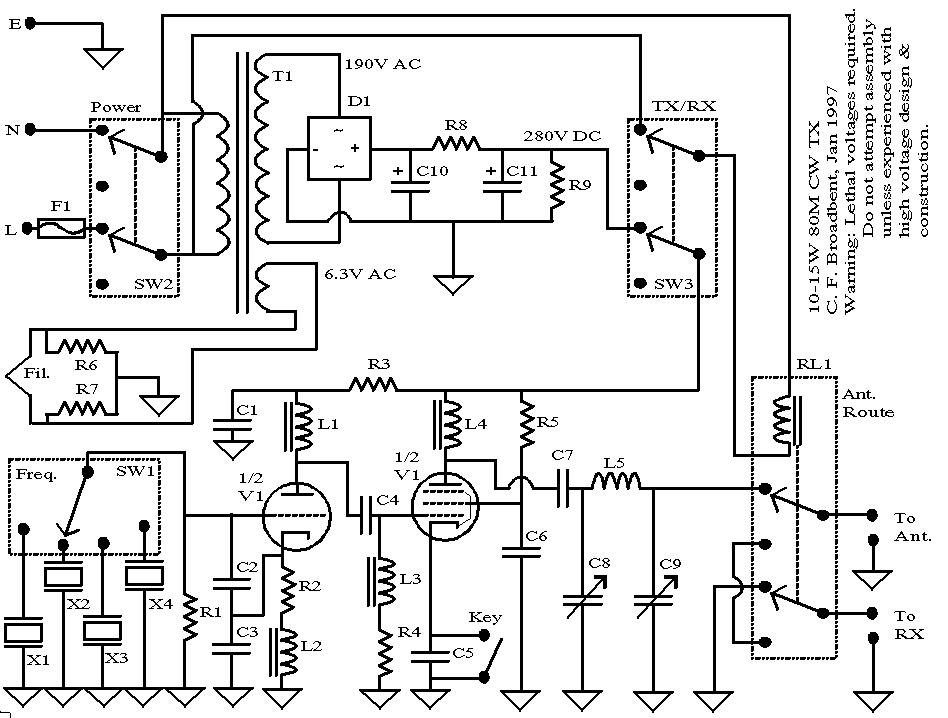 Circuit Design of a 6LR8 Tube Based CW TX (Valve Based