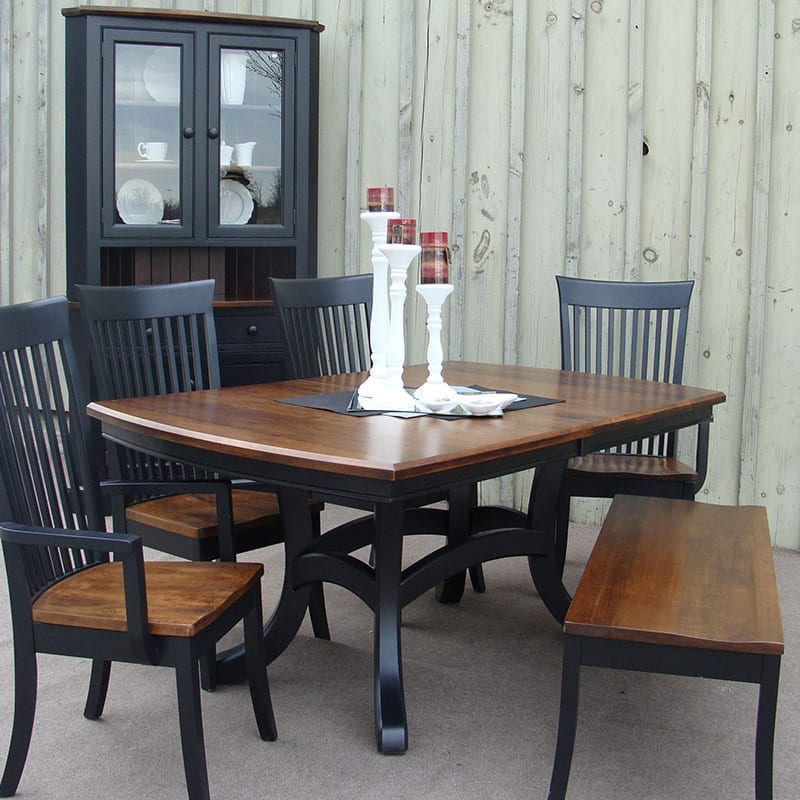 Jordan Table with Carlisle Chairs and Corner Hutch
