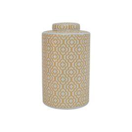 Gold Geometric Pattern Ceramic Ginger Jar (L)