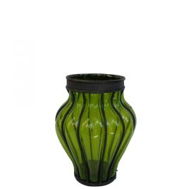 Small Glass Vase w/ Metal (Green)
