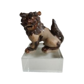 Vintage Chinese Foo Fu Dog Dragon Ceramic Sculpture on Crystal Base