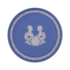 Wedgewood Blue Jasperware Display Plate (1982 Royal Birth Prince William)