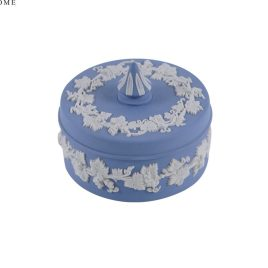 Wedgwood Blue Jasperware Round Vines Spiked Lidded Box