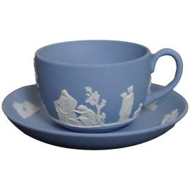 Wedgwood Blue Jasperware teacup duo set