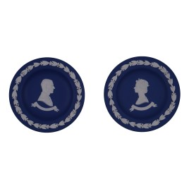 Wedgewood Dark Blue Jasperware Pin Dish (Commemorative 1977′ Silver Jubilee: Queen Elizabeth II & Duke of Edinburgh) 2 pcs/ set