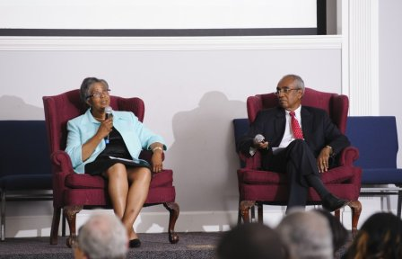 Sandral Hullett, MD, former CEO and medical director of Cooper Green-Mercy Hospital in Birmingham and the first African-American female resident at the College and Art Dunning, PhD, professor and senior research fellow for the University of Alabama Education Policy Center, served as a panel that looked back at the beginnings of racial diversity at The University of Alabama.