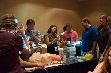 Dr. Richard Friend, residency director, provided a demonstration for medical students on proper insertion of breathing tubes.