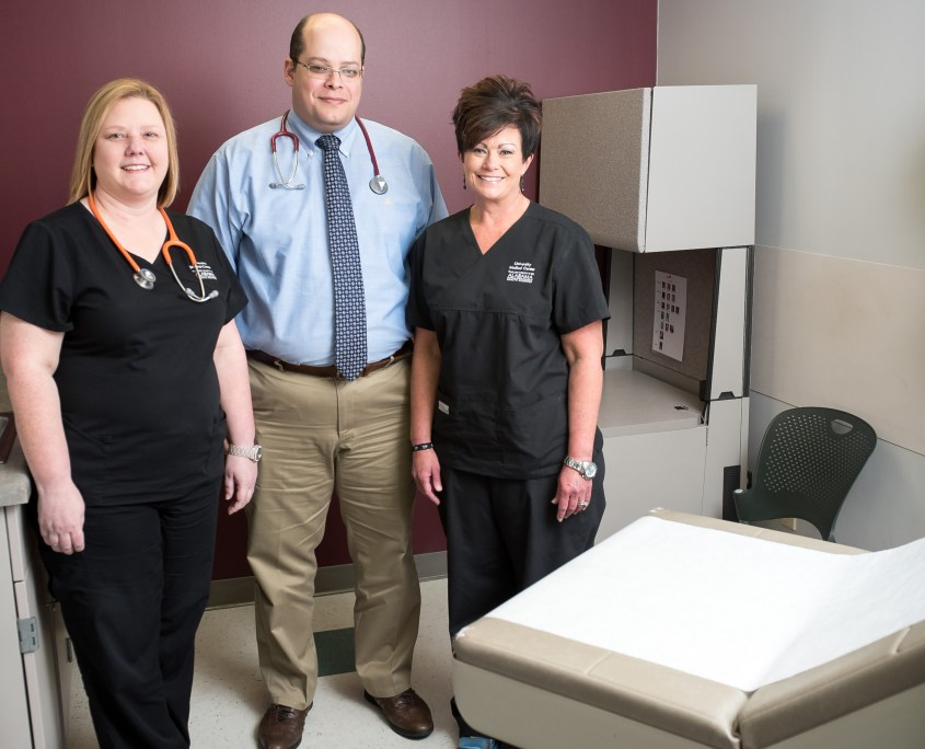 From left, Amy Yarbrough, LPN, Dr. Tamer Elsayed, assistant professor in Family Medicine, and Kim McMillian, LPN