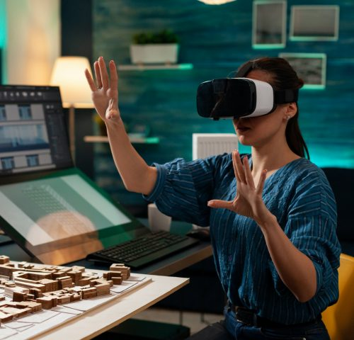 Modern business woman with vr glasses for innovation