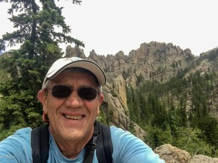 At the top of Cathedral Spires trail