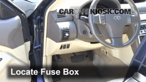 Interior Fuse Box Location: 20032007 Infiniti G35  2003 Infiniti G35 35L V6 Coupe (2 Door)