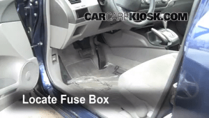 Interior Fuse Box Location: 20062011 Honda Civic  2007 Honda Civic LX 18L 4 Cyl Sedan (4 Door)