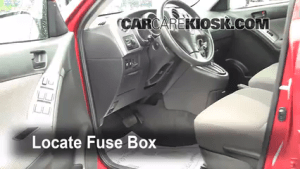 Interior Fuse Box Location: 20032008 Pontiac Vibe  2008 Pontiac Vibe 18L 4 Cyl