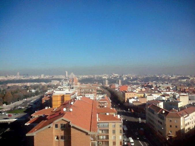 Boina de contaminación que cubre Madrid