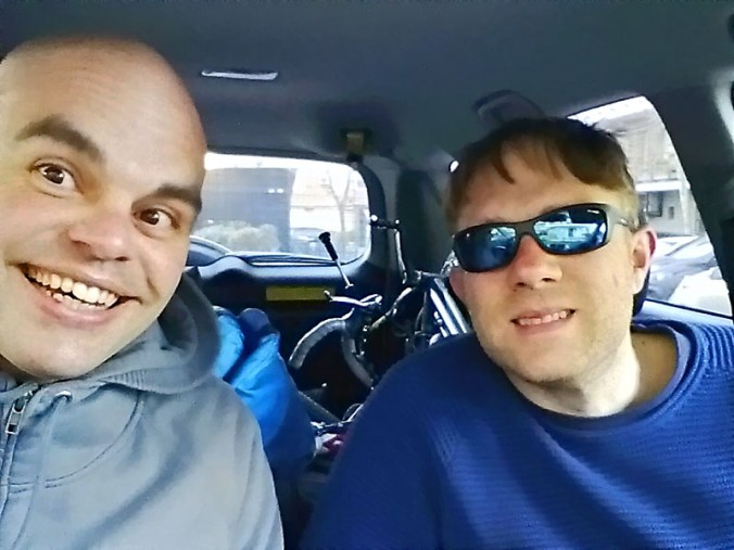 José y yo de camino a Bilbao