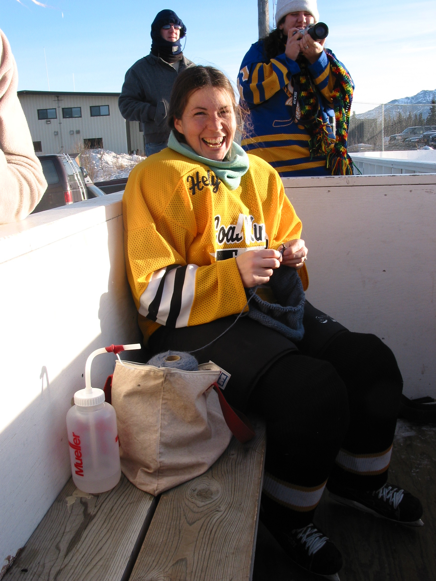 Knitting between hockey games.