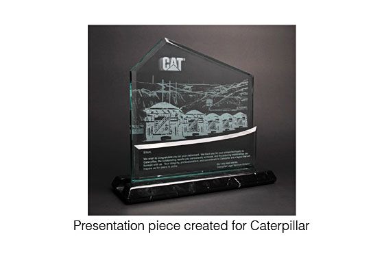 Custom Caterpillar Presentation Piece
