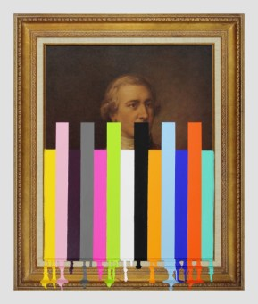 Garage Sale Picture of an English Officer - paint on found print and frame - 2013 - 35,5 x 29,5 x 1,75 008