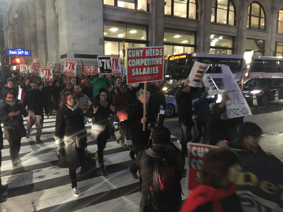 PSC-CUNY teachers demonstrate for higher pay.