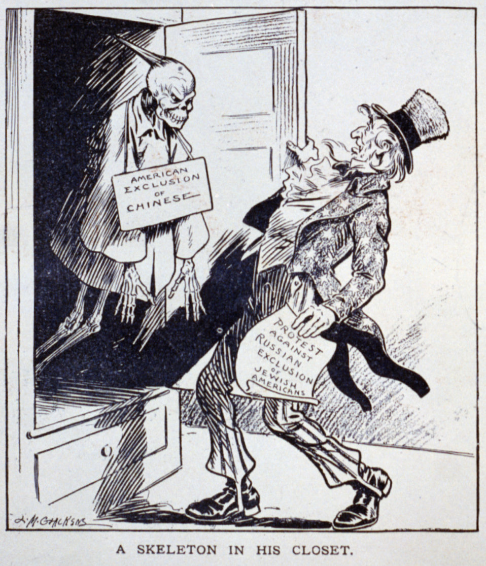 Cartoon showing an Uncle Sam figure taken aback by a skeleton in the closet representing the Chinese Exclusion Act