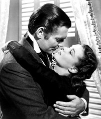 "Clark Gable Kissing Vivian Leigh in the classic movie ""Gone With the Wind"""