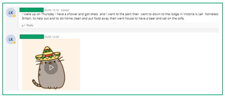 Image of an MS Teams page, showing chat facility between teacher and peers.