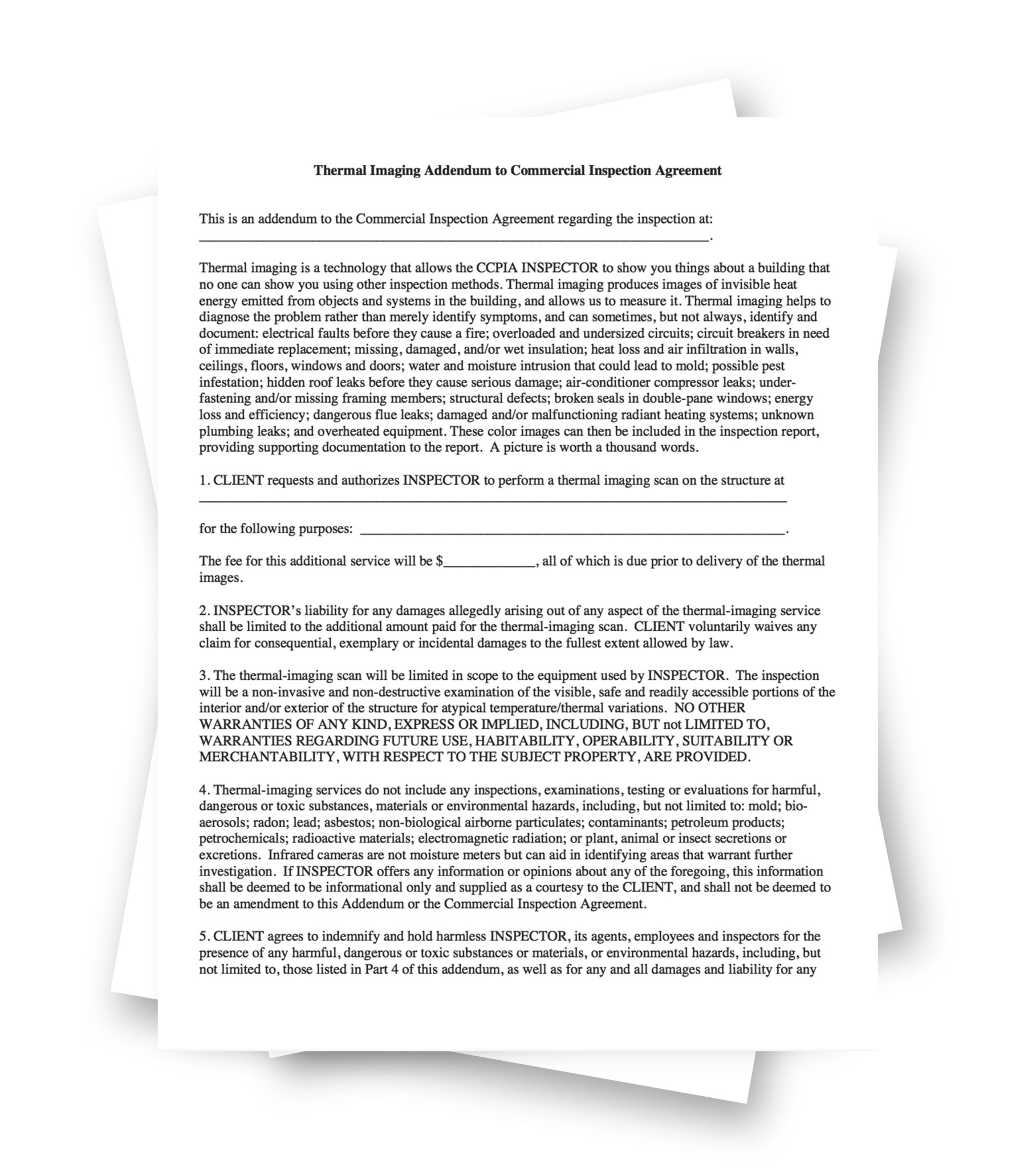 Thermal Imaging Addendum To Commercial Inspection Agreement