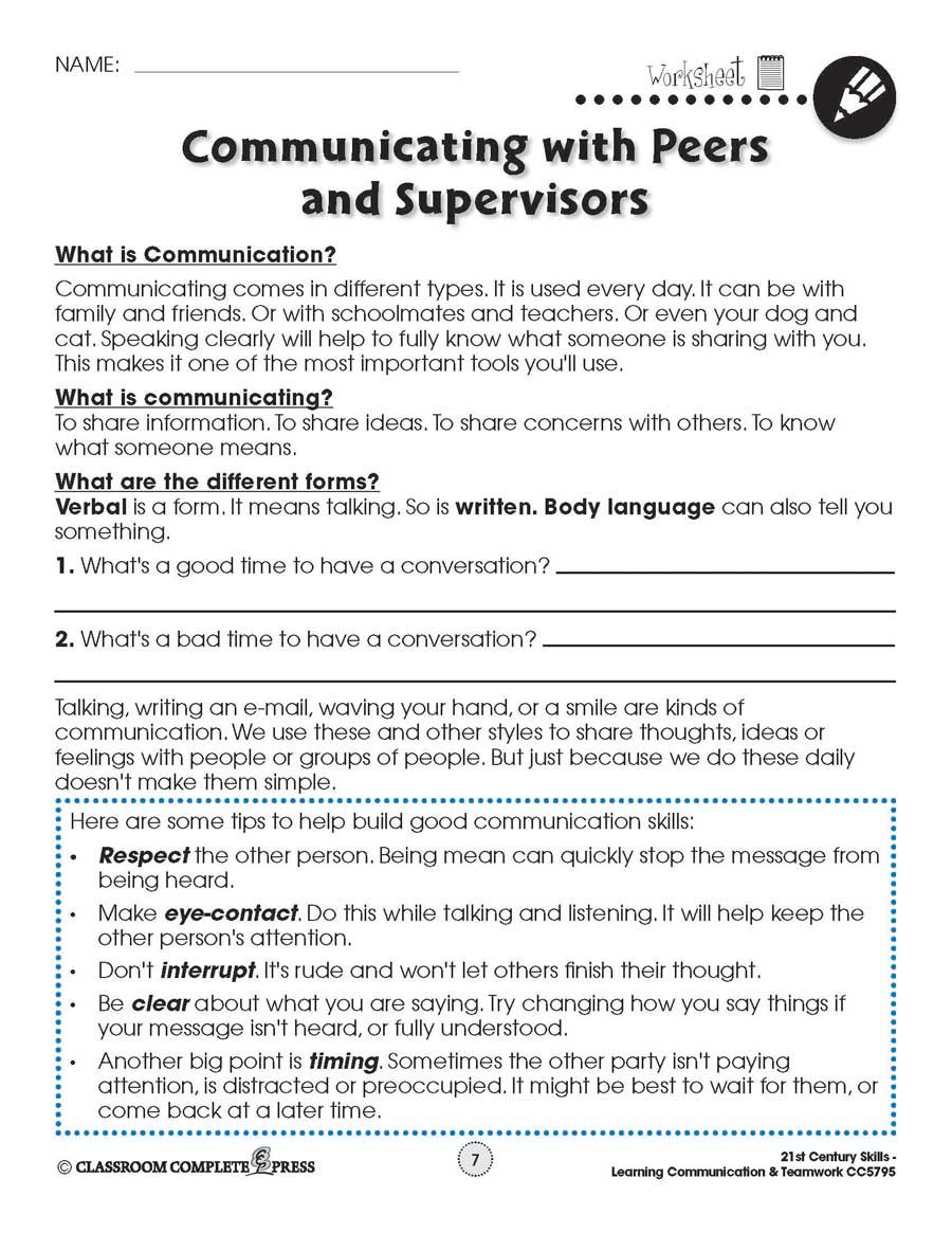 medium resolution of Learning Communication \u0026 Teamwork: Building Communication Skills -  WORKSHEETS - Grades 3 to 8+ - eBook - Worksheets - CCP Interactive