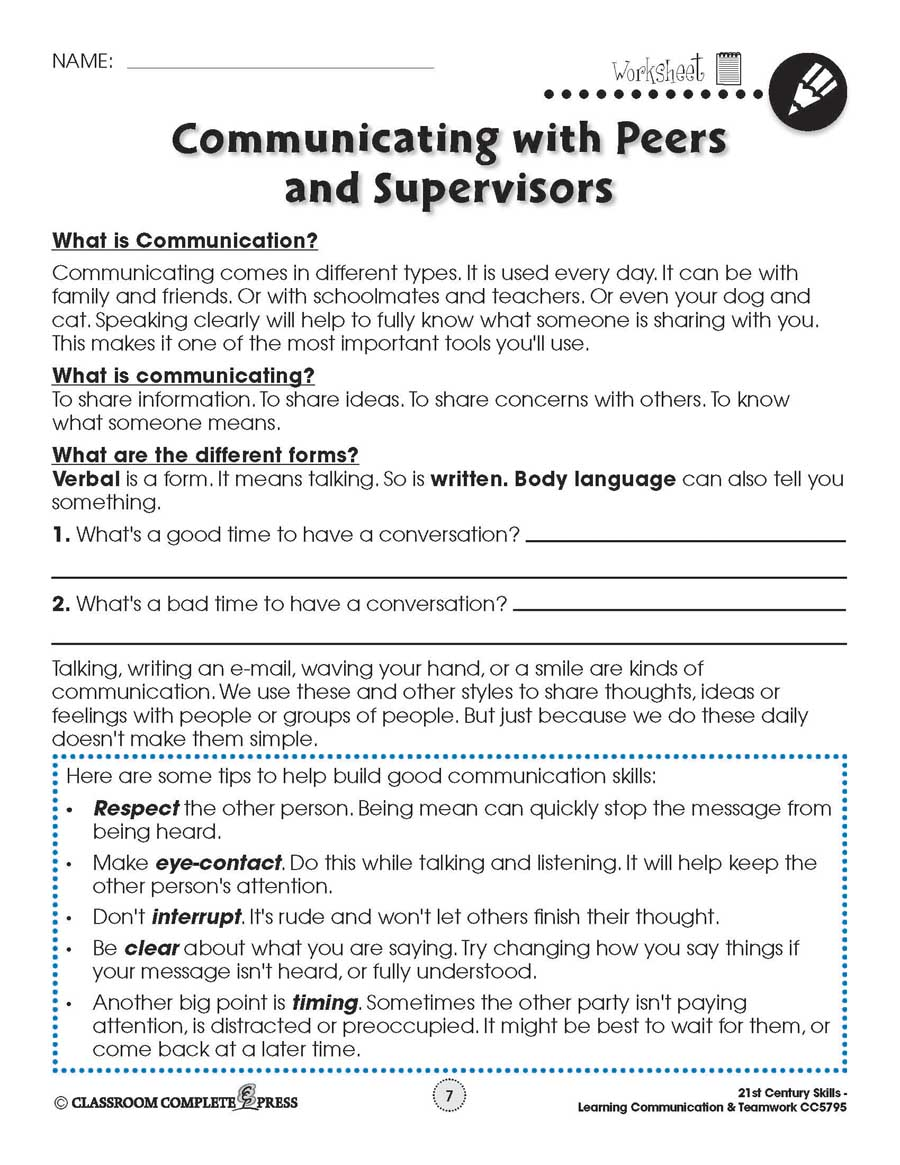 hight resolution of Learning Communication \u0026 Teamwork: Building Communication Skills -  WORKSHEETS - Grades 3 to 8+ - eBook - Worksheets - CCP Interactive