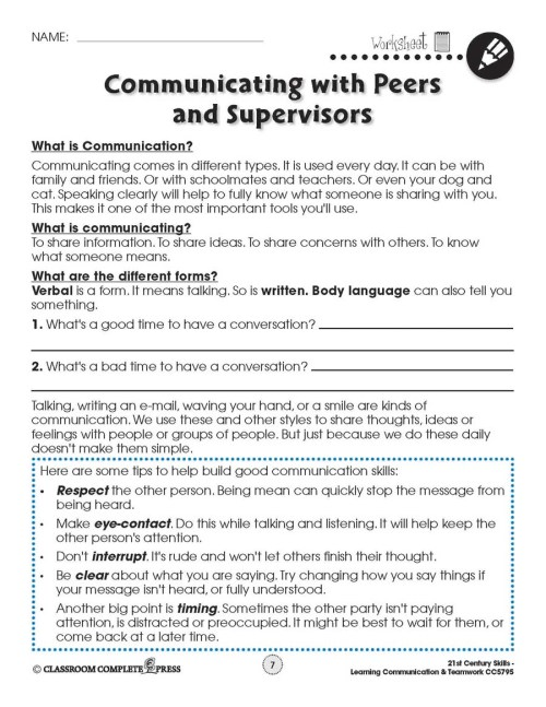 small resolution of Learning Communication \u0026 Teamwork: Building Communication Skills -  WORKSHEETS - Grades 3 to 8+ - eBook - Worksheets - CCP Interactive