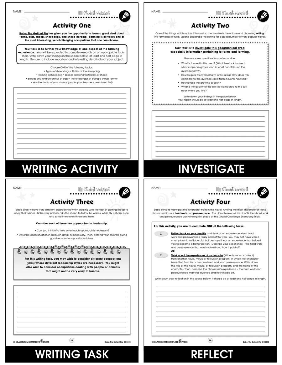 medium resolution of Babe: The Gallant Pig - BONUS WORKSHEETS - Grades 3 to 4 - eBook - Bonus  Worksheets - CCP Interactive