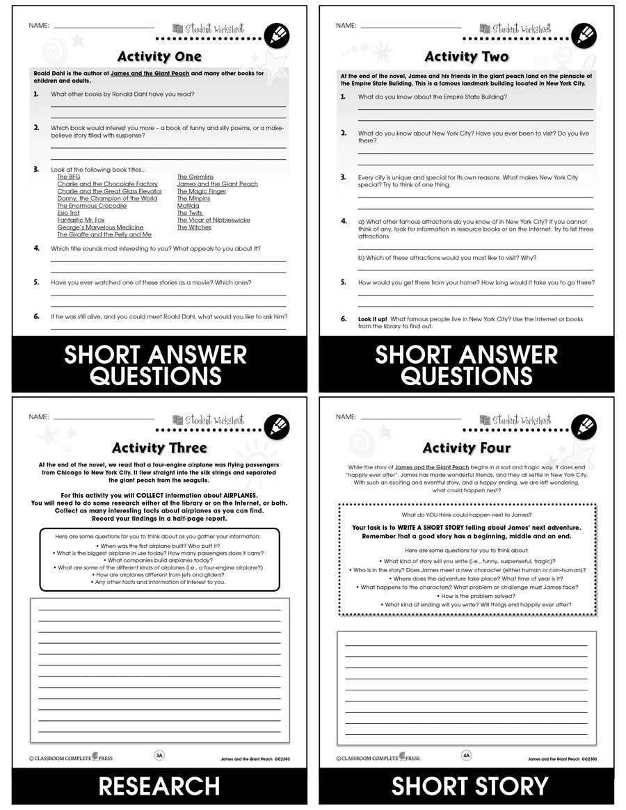 medium resolution of James and the Giant Peach - BONUS WORKSHEETS - Grades 3 to 4 - eBook -  Bonus Worksheets - CCP Interactive