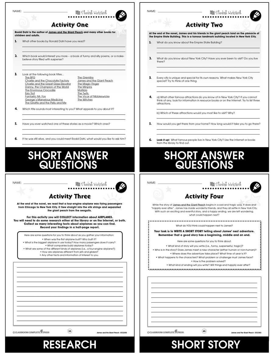hight resolution of James and the Giant Peach - BONUS WORKSHEETS - Grades 3 to 4 - eBook -  Bonus Worksheets - CCP Interactive