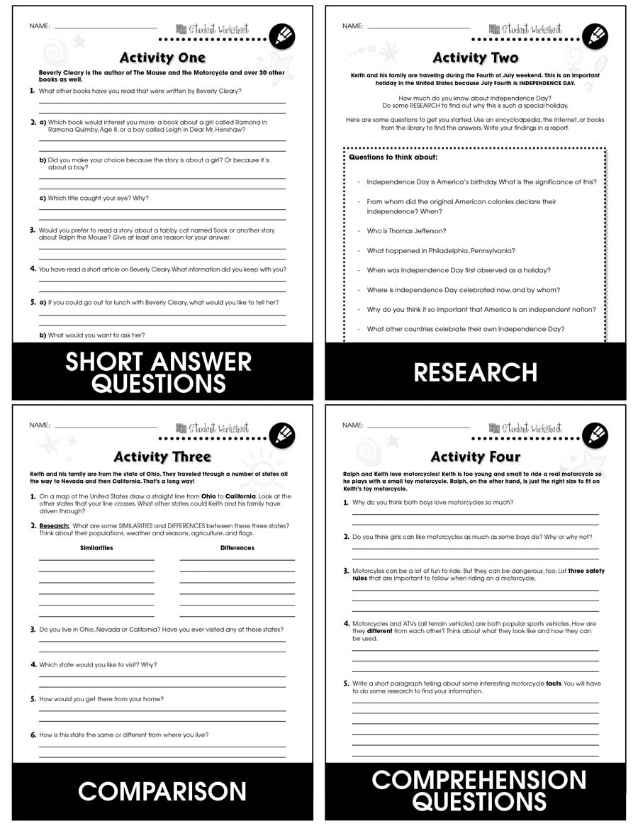 medium resolution of The Mouse and the Motorcycle - BONUS WORKSHEETS - Grades 3 to 4 - eBook -  Bonus Worksheets - CCP Interactive