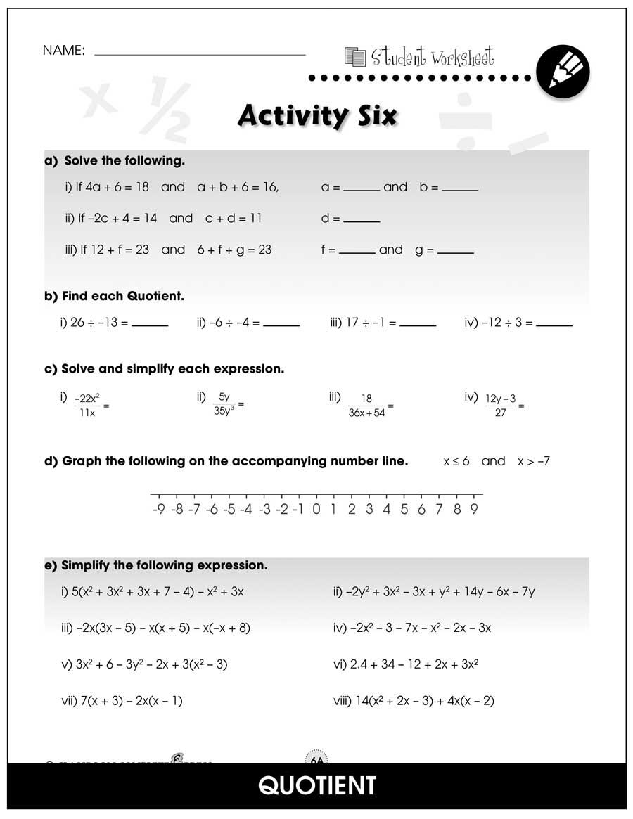 medium resolution of Algebra - Drill Sheets Gr. 6-8 - BONUS WORKSHEETS - Grades 6 to 8 - eBook -  Bonus Worksheets - CCP Interactive