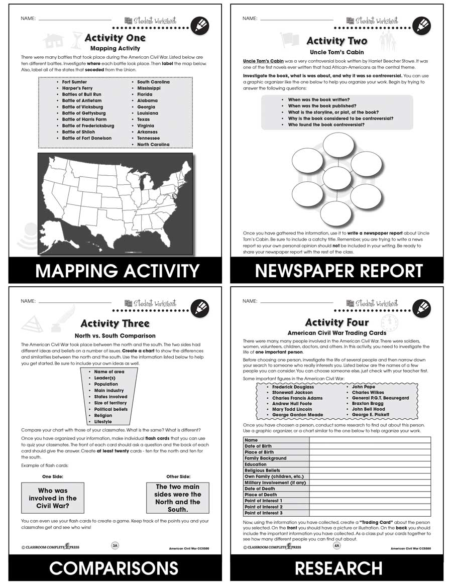 medium resolution of American Civil War - BONUS WORKSHEETS - Grades 5 to 8 - eBook - Bonus  Worksheets - CCP Interactive