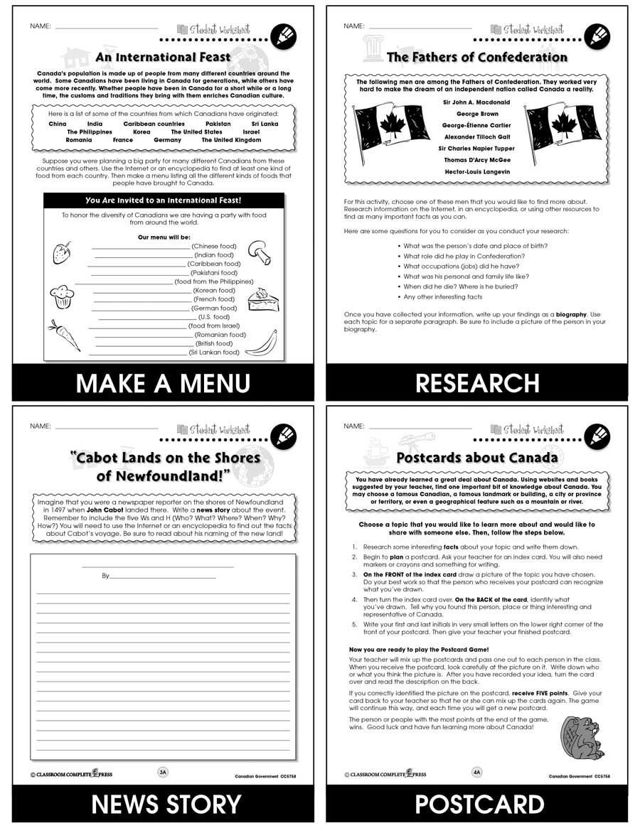 medium resolution of Canadian Government - BONUS WORKSHEETS - Grades 5 to 8 - eBook - Bonus  Worksheets - CCP Interactive