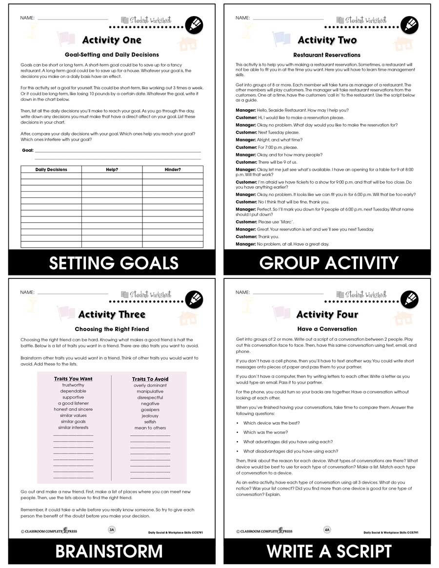 medium resolution of Daily Social \u0026 Workplace Skills - BONUS WORKSHEETS - Grades 6 to 12 - eBook  - Bonus Worksheets - CCP Interactive