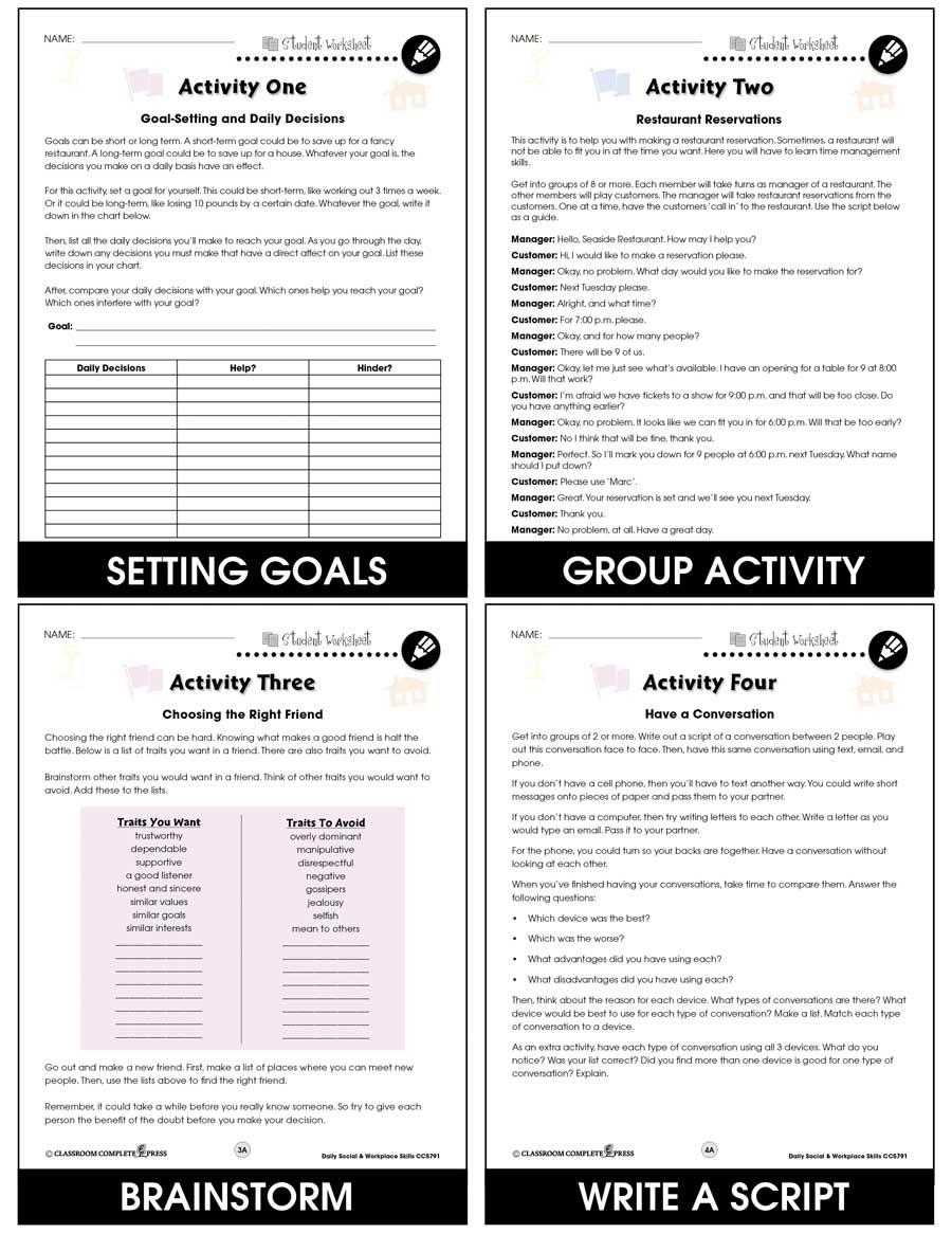 hight resolution of Daily Social \u0026 Workplace Skills - BONUS WORKSHEETS - Grades 6 to 12 - eBook  - Bonus Worksheets - CCP Interactive