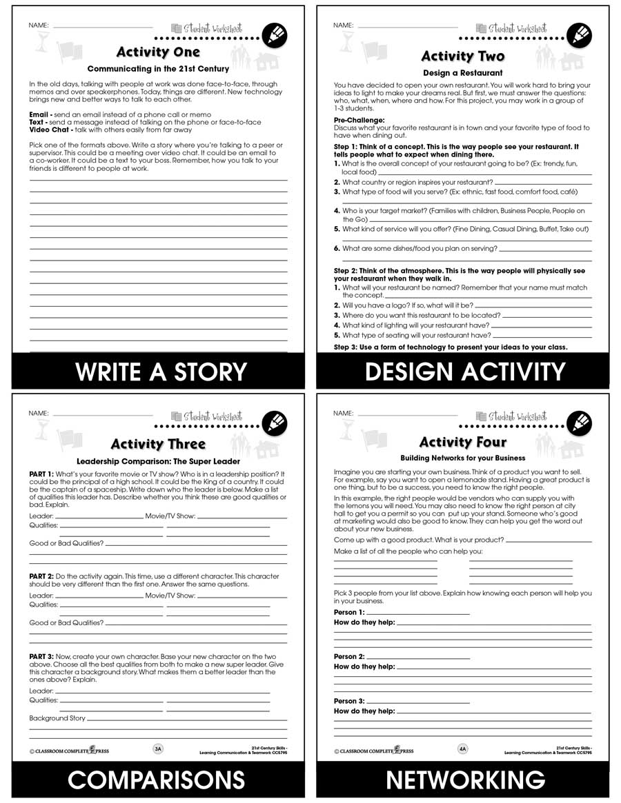 medium resolution of 21st Century Skills - Learning Communication \u0026 Teamwork - BONUS WORKSHEETS  - Grades 3 to 8+ - eBook - Bonus Worksheets - CCP Interactive